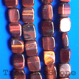 Bead, red Tiger's Eye, 8x10 flat rectangle. 16-inch strand.