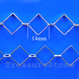 Chain, brass, rhodium-plated, 14mm. Sold per pkg of 1 meter.