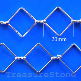 Chain, brass, rhodium-plated, 20mm. Sold per pkg of 1 meter.
