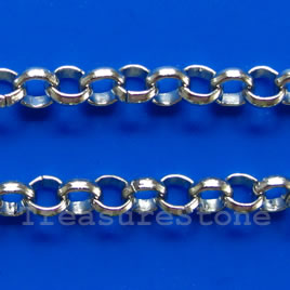 Chain, brass, rhodium-plated, 3mm rolo. Sold per pkg of 1 meter.