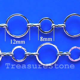 Chain, brass, rhodium-plated, 12/8mm. Sold per pkg of 1 meter.