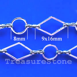 Chain, brass, rhodium-plated, 8/9x16mm. Sold per pkg of 1 meter.