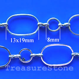 Chain, brass, rhodium-plated, 13x19/8mm. Sold per pkg of 1 meter