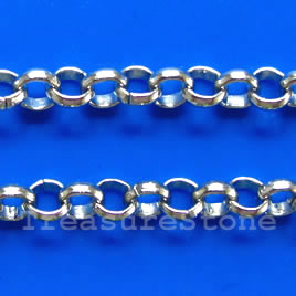 Chain, brass, rhodium-plated, 4mm rolo. Sold per pkg of 1 meter.
