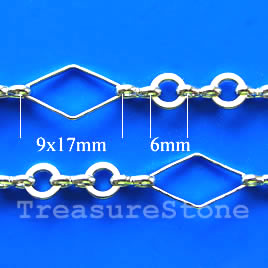 Chain, brass,silver-plated, 9x17/6mm. Sold per pkg of 1 meter.