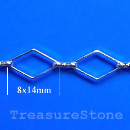 Chain, brass, rhodium-plated, 8x14mm. Sold per pkg of 1 meter.