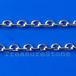 Chain, brass, rhodium-plated, 2mm. Sold per pkg of 1 meter.