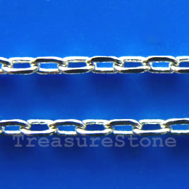 Chain, brass, rhodium-plated, 1x2mm. Sold per pkg of 1 meter.