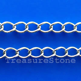 Chain, brass, rhodium-plated, 3x3.5mm. Sold per pkg of 1 meter.