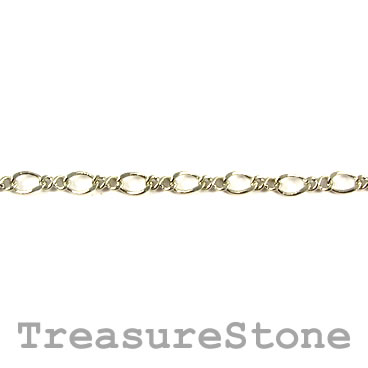 Chain, brass, rhodium-plated, 2.5x3.5mm. Sold per meter.