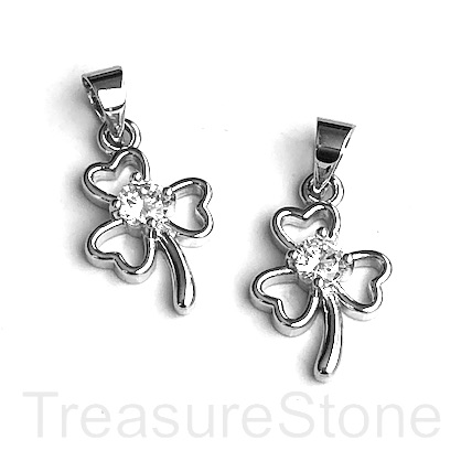 Charm, 10x14mm,rhodium plated brass 4-leaf clover, shamrock. Ea