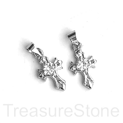Charm, 10x14mm cross, rhodium plated brass. Ea