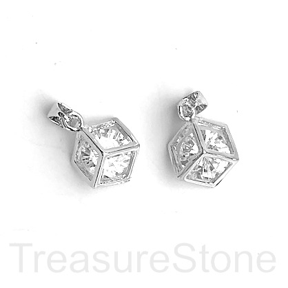 Charm, 11mm crystal in cage, rhodium plated brass. Ea