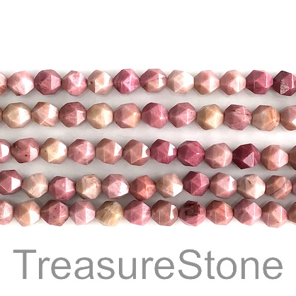 Bead, Rhodonite, 7x8mm, faceted nugget. 15.5-inch, 47pcs