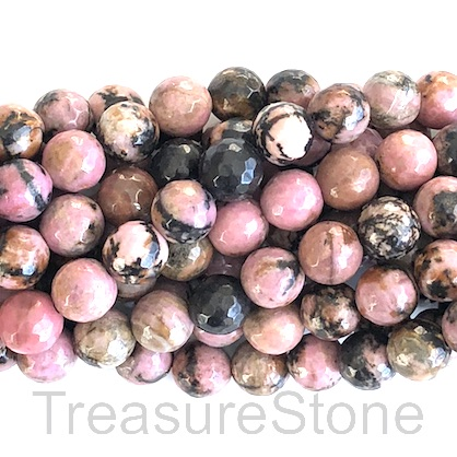 Bead, Rhodonite, faceted Round, 8mm, Grade B, 15-inch, 45pcs.