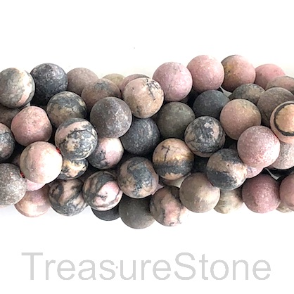 Bead, Rhodonite, Round, 8mm, matt, Grade B, 15-inch, 49pcs.