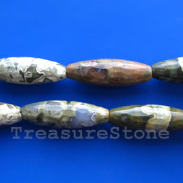 Bead, rhyolite, 10x30mm faceted oval. Sold per pkg of 13.