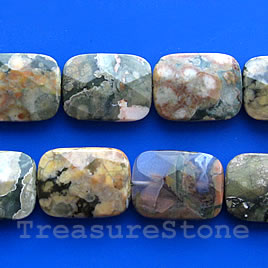 Bead, rhyolite, 15x20mm faceted rectangle. Sold pkg of 20.