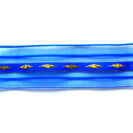 Organza ribbon, blue with gold pattern, 1 inch. Pkg of 3 meters.