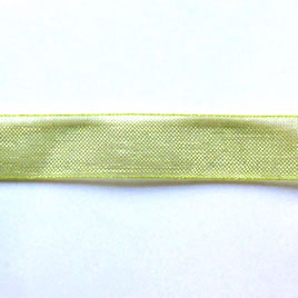 Organza ribbon, green, 11mm wide. Pkg of 6 meters.