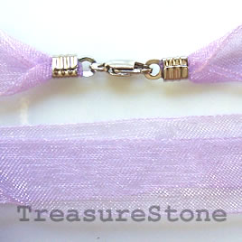 Cord, ribbon w sterling silver clasp, connector, purple,16 inch
