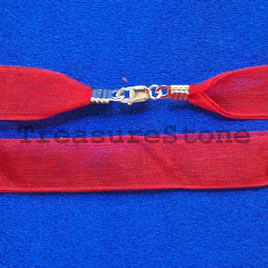 Cord, ribbon with sterling silver clasp, connector, red, 16 inch