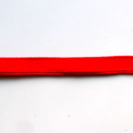 Ribbon, velvet and nylon, red, 7mm wide. Pkg of 7 meters