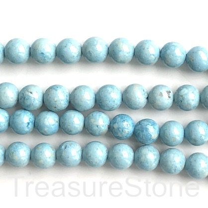 Bead, rive stone, dyed, light blue, 8mm round. 16-inch, 48pcs