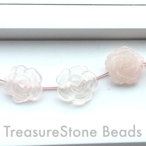 Bead, Rose quartz, 20mm handcarved flower. 14pcs