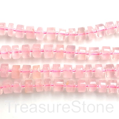 Bead, rose quartz, about 5x10mm disc/heishi. 15.5-inch, 50pcs