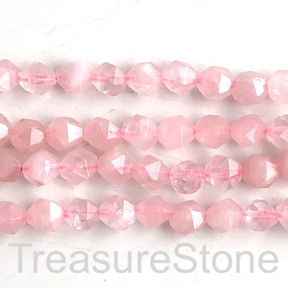 Bead, rose quartz, 8mm faceted, star cut. 15-inch, 47pcs