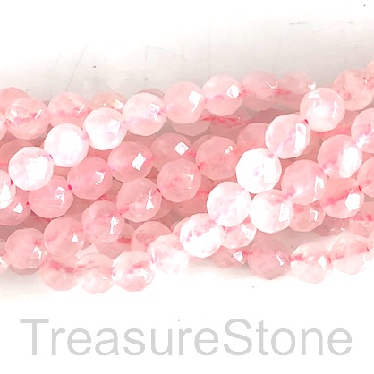 Bead, rose quartz, 8mm faceted round, grade B. 14.5-inch, 45pcs