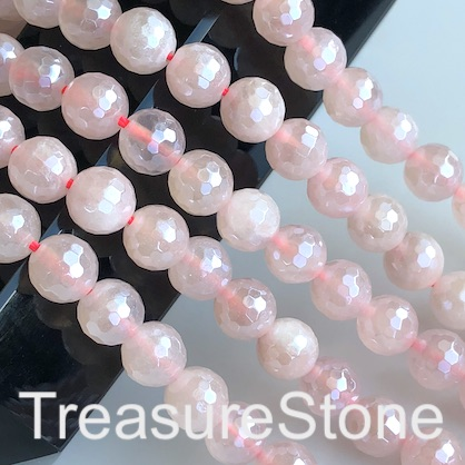 Bead, rose quartz, 8mm faceted round, plated. 15-inch, 48pcs