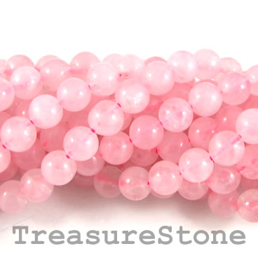 Bead, rose quartz, 8mm round. 15-inch strand.