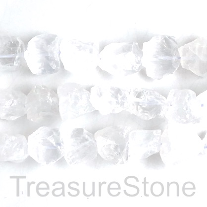 Bead, crystal quartz, about 17 mm rough nugget. 16 inch, 26pcs