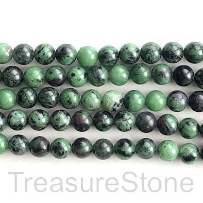 Bead, ruby zoisite, 8mm round. 15.5-inch, 48pcs