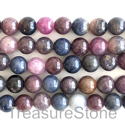Bead, ruby, sapphire, 8mm round. 16-inch, 52pcs