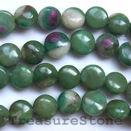 Bead, ruby zoisite, 12mm flat round. 16-inch strand.