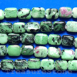 Bead, ruby zoisite, 13x18mm flat rectangle. 16-inch strand.
