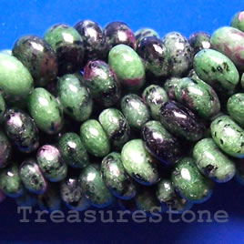 Bead, ruby zoisite, 5x10mm rondelle. 16-inch strand.