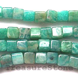 Bead, russian amazonite, 4mm cube. 16 inch strand
