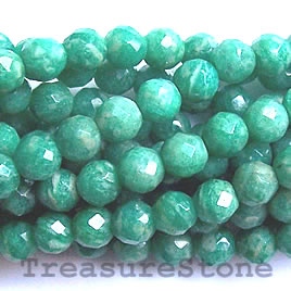 Bead, Russian Amazonite, faceted round, 6mm. 16-inch strand.