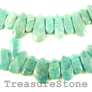 Bead, russian amazonite, graduated teardrop. 23 to 36mm. 37 pcs.