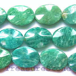 Bead, russian amazonite, 13x18mm wave oval. 16 inch strand