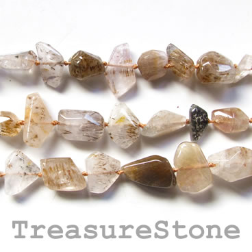 Bead, rutilated quartz, faceted nugget, about 17mm. 17-inch.