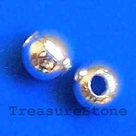 Bead, silver-colored, 3mm round, pkg of 200 pcs