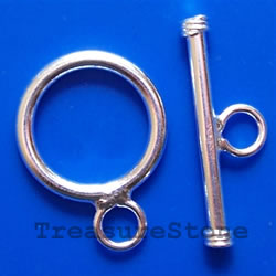 Clasp, toggle, sterling silver, 13.5mm round. Sold per pair.