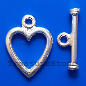 Clasp, toggle, sterling silver,12x13mm heart. Sold per pair.