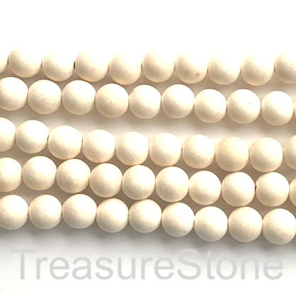 Bead, scented wood, cream, 8mm round, matte. 15 inch, 47pcs.
