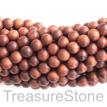 Bead, scented wood, brown 4, 8mm round. Pkg of 108pcs.